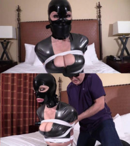 Tight bondage, domination and hogtie for hot model in latex