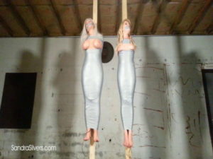 Two Milf Mummification! Sandra & Whitney Mummified Off the Ground!