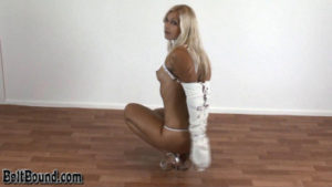 Jenni C – angel in white leather armbinder and white collar